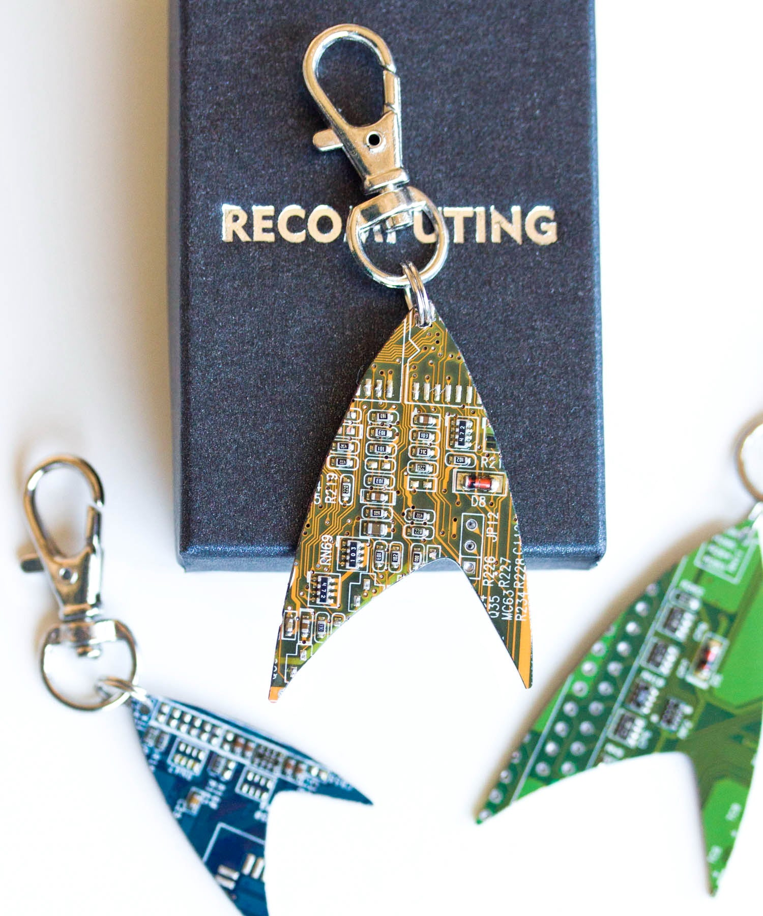 Star inspired keychain, Circuit board keychain or bag tag