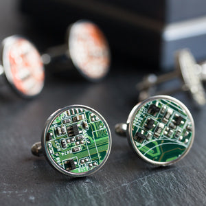 Unique circuit board cufflinks in stainless steel