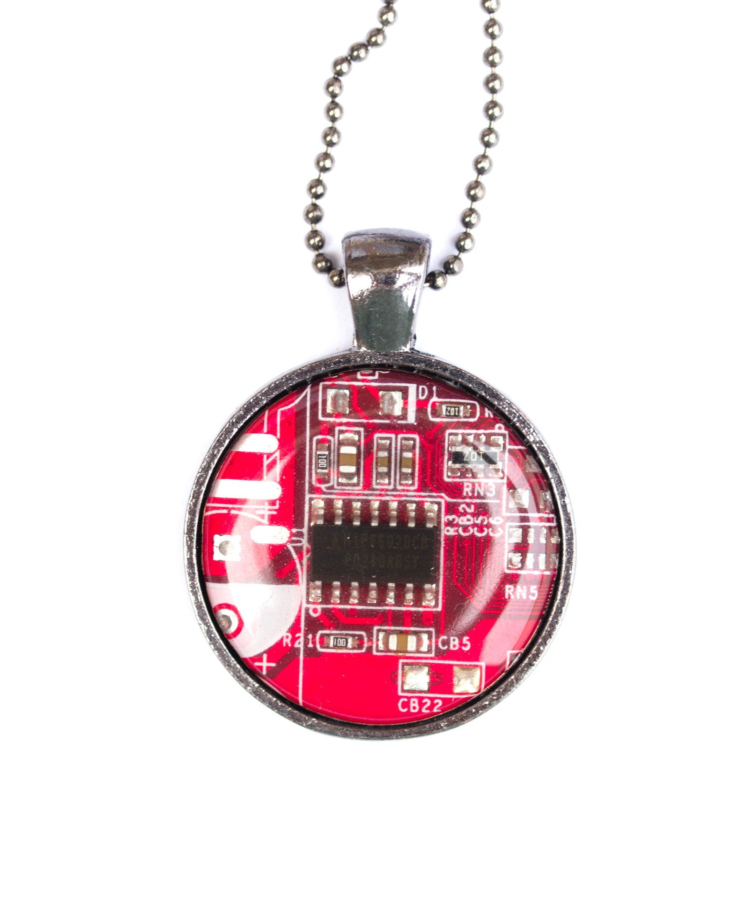 Circuit board necklace, round