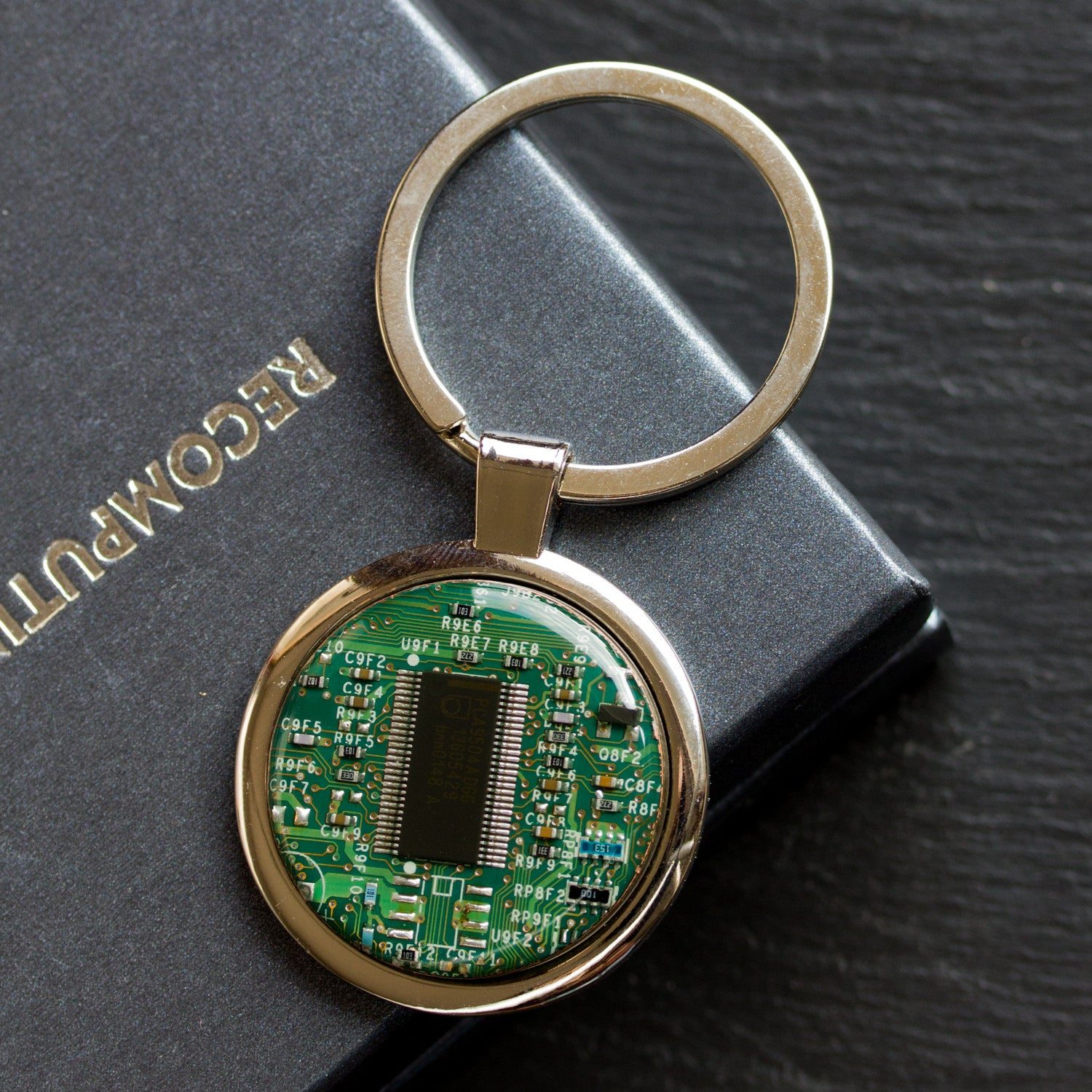 Large keychain with circuit board, unique gift for him