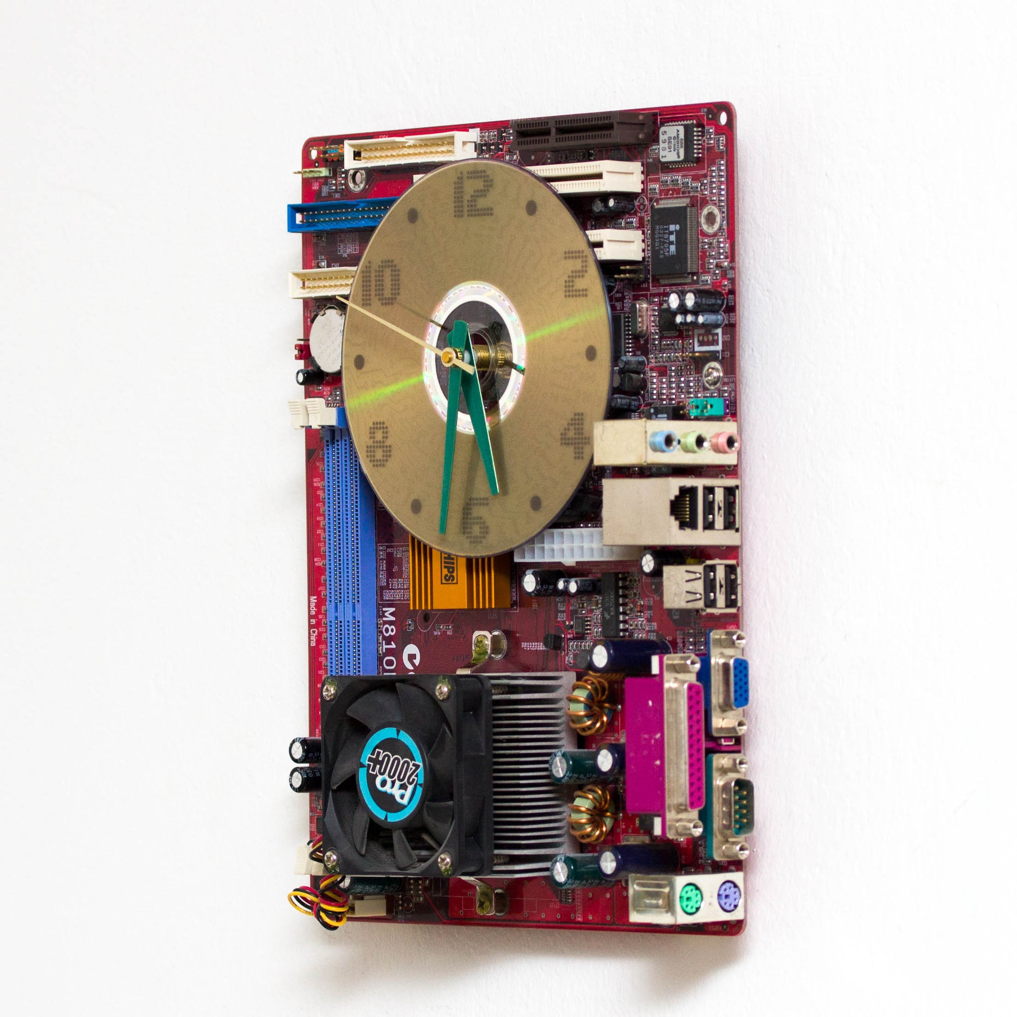 Geeky Wall Clock made of red Circuit Board