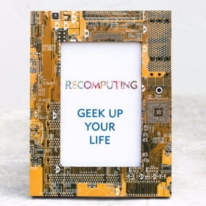 Geeky Picture Frame made of yellow Circuit Board