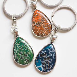 Unique circuit board keychain, drop shaped
