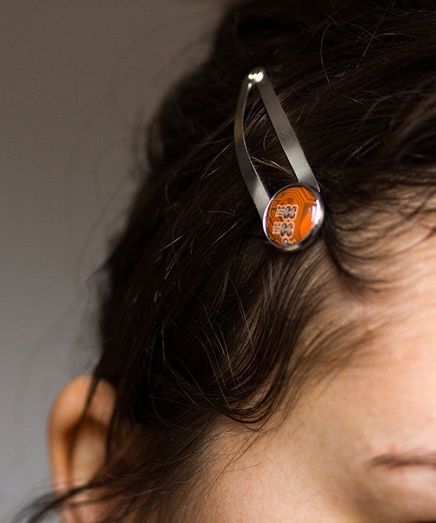 Geeky hair clip made of circuit board, 2pcs
