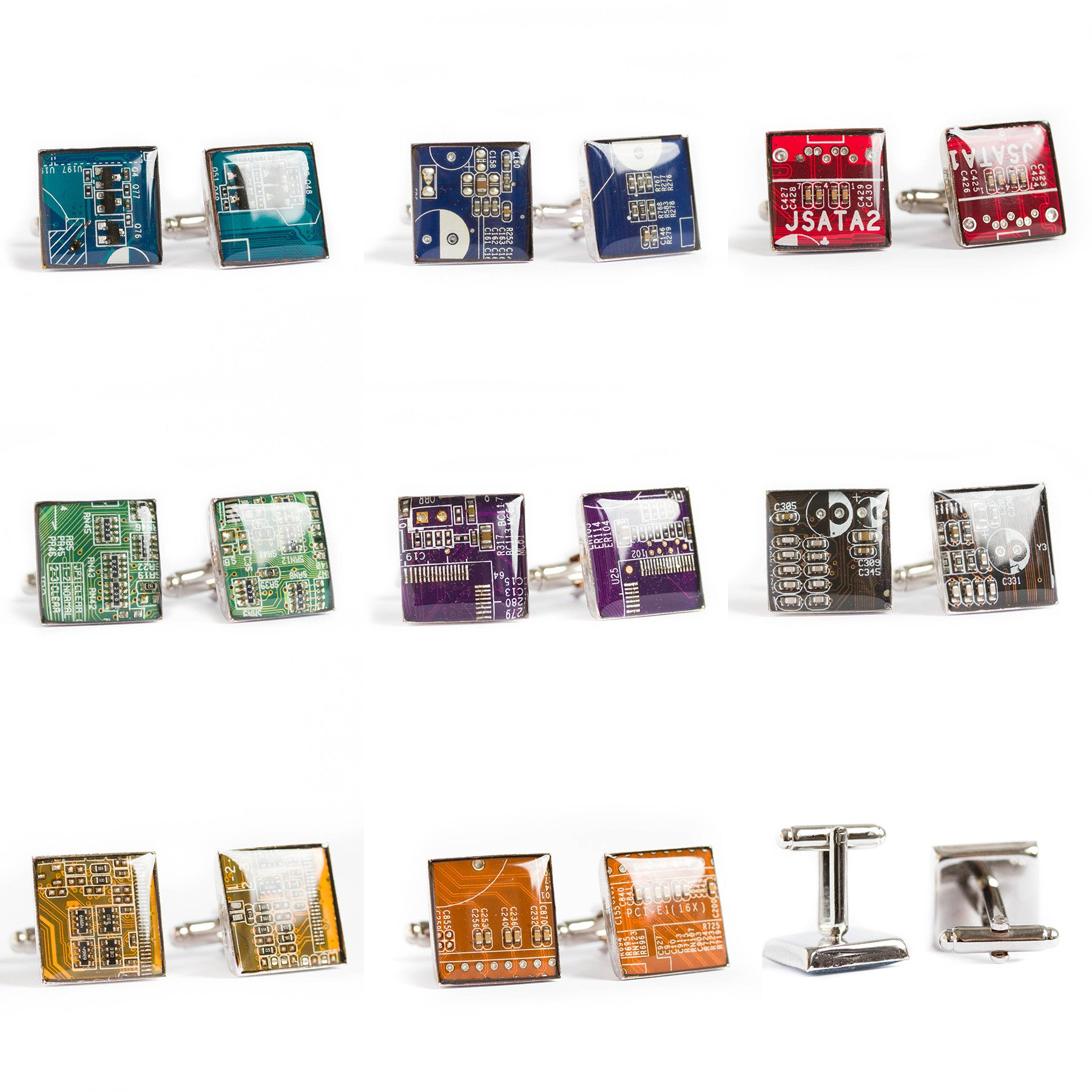 Set of Circuit board tie clip and cufflinks (palladium plated)