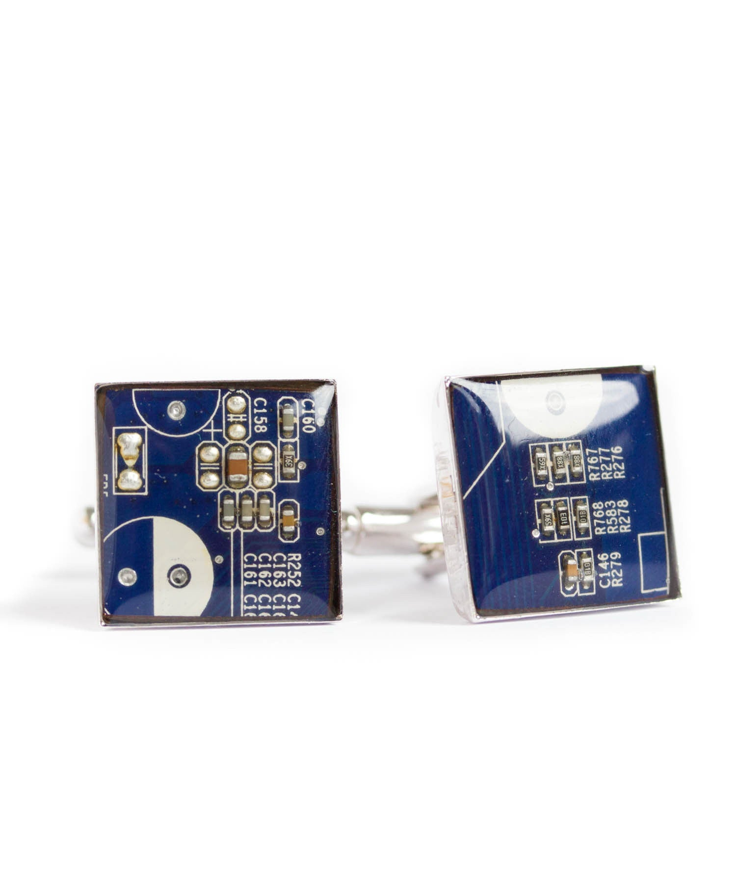 Square Cufflinks, Palladium Plated, Resin