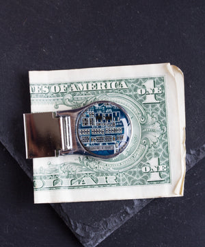 Money clip with circuit board piece