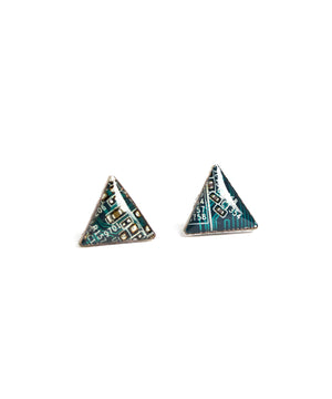 Circuit board triangle stud earrings