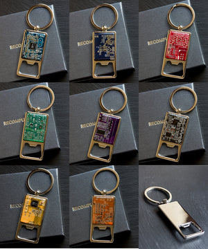 Bottle opener keychain with a circuit board piece