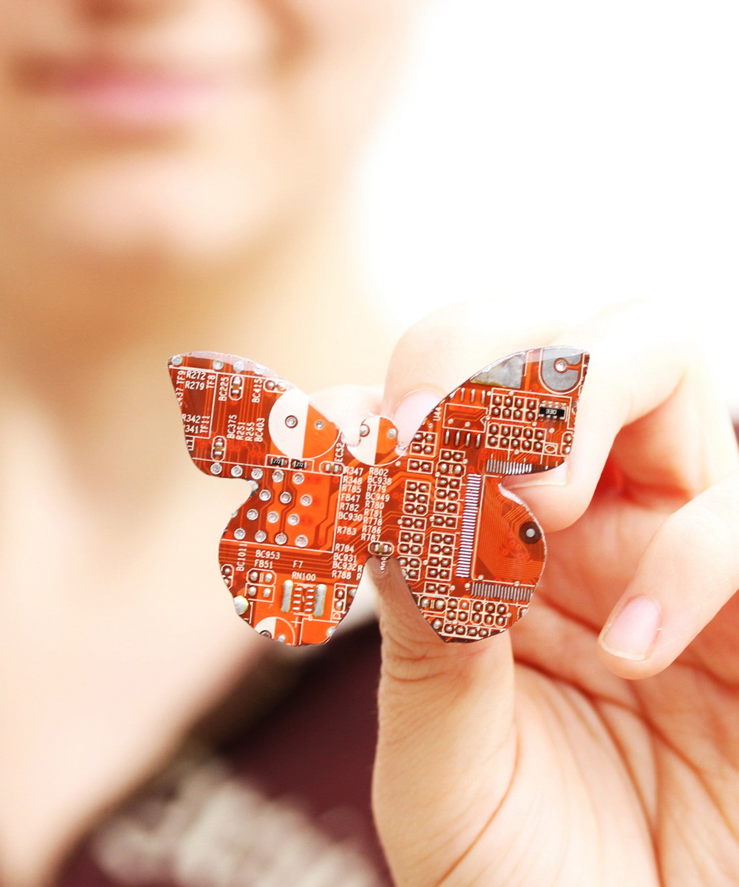 Butterfly Circuit Board Brooch
