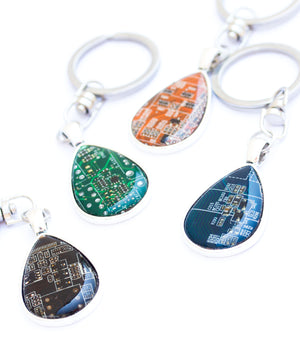 Circuit board keychain drop shaped