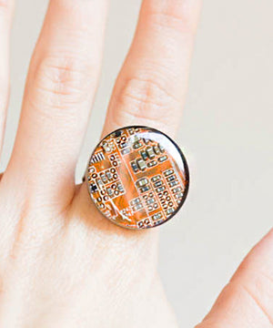 Big Round Circuit Board Ring - 22 mm