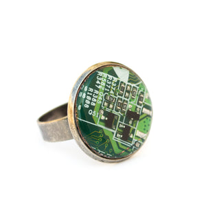 Geeky circuit board round ring - 18 mm