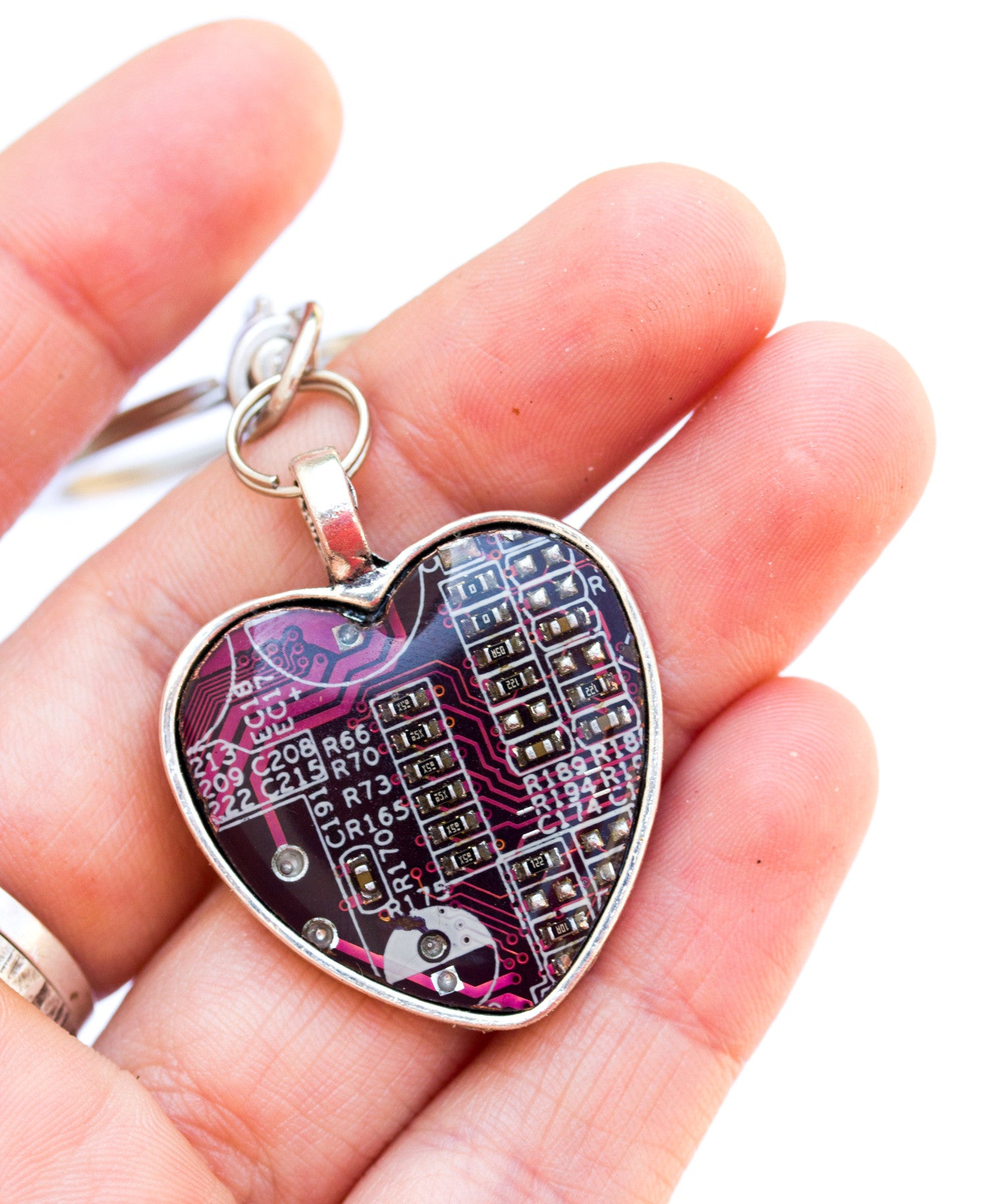 Circuit board keychain heart shaped