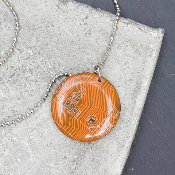 Orange circuit board round necklace