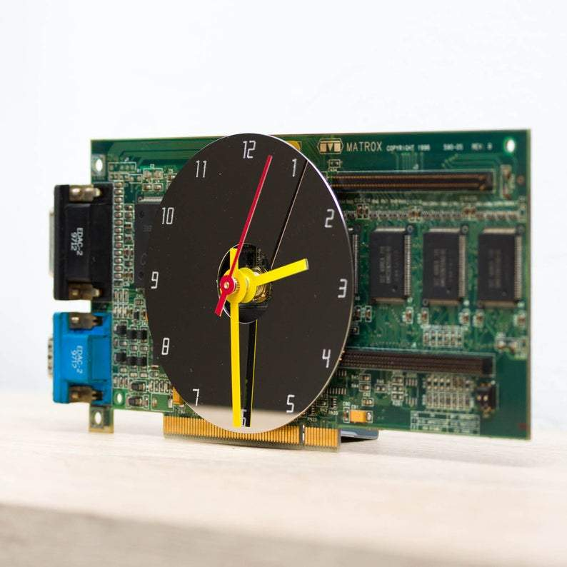 Desk clock - unique office clock, Recycled video card clock - green circuit board