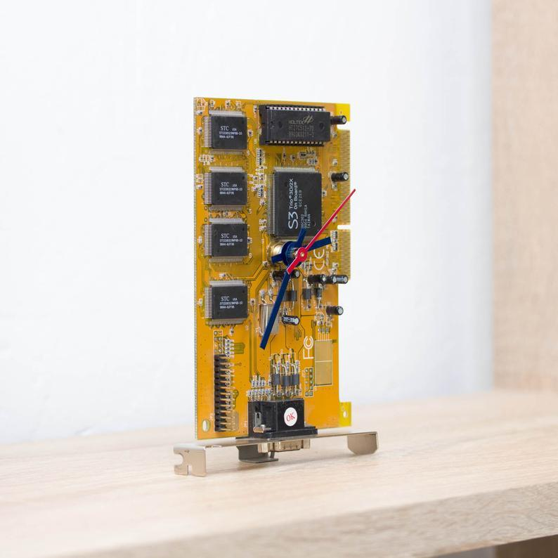 Desk clock - Recycled circuit board clock, computer geek gift, yellow circuit board