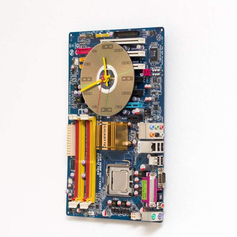 Geeky Wall Clock made of blue Circuit Board