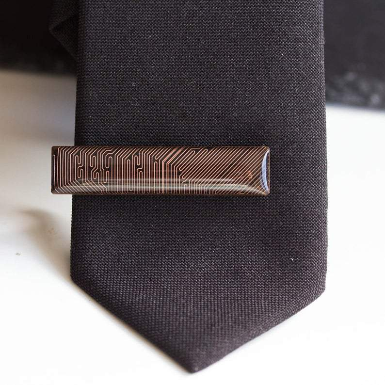 Black and Copper Circuit board Tie clip, short tie bar, geek mens gift, groomsmen