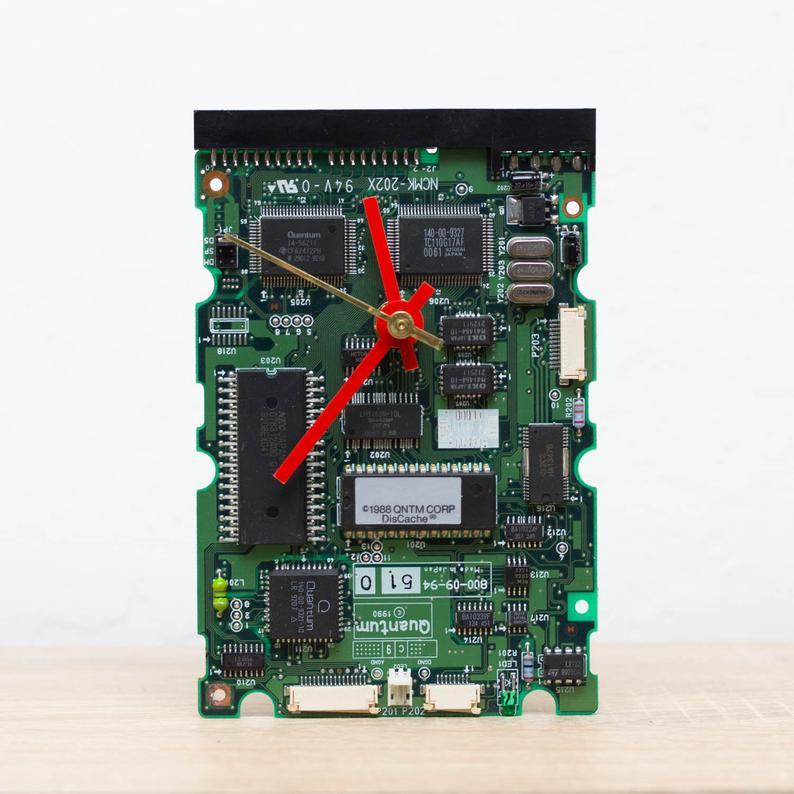 Desk clock - Recycled sound card clock, computer geek gift, green circuit board