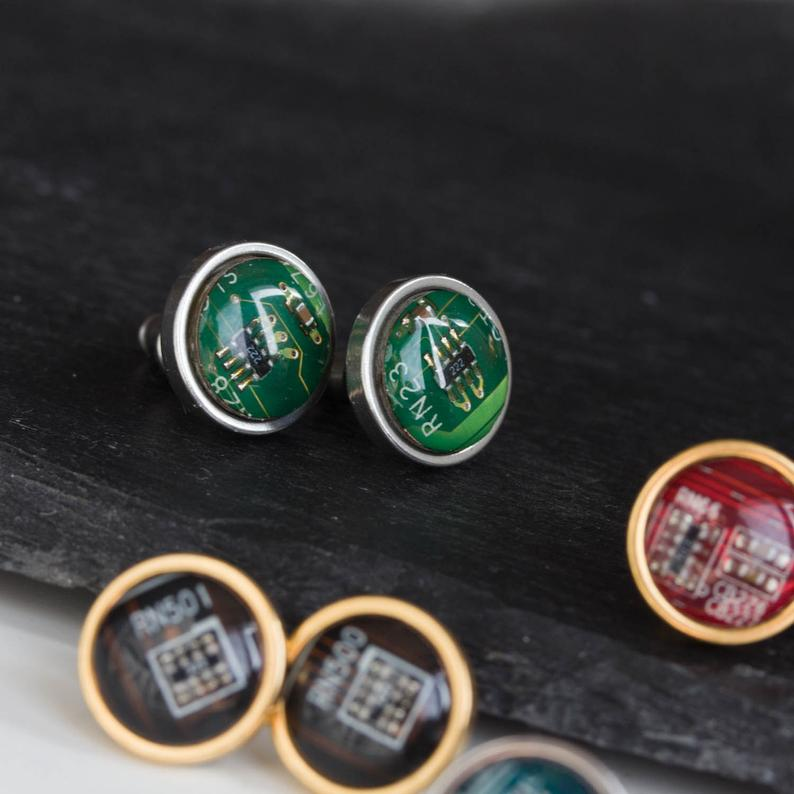 Circuit board stud earrings, 10mm round, steel or gold