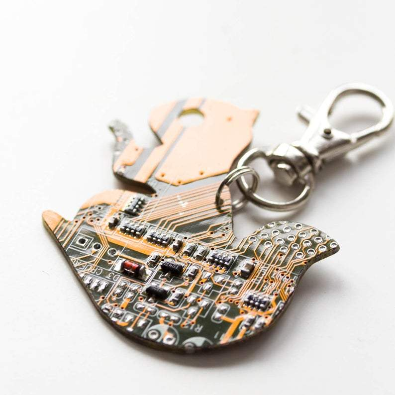 Circuit board squirrel - keychain or bag tag