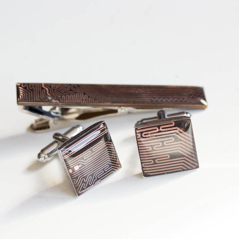 Black and Copper Cufflinks and tie clip set