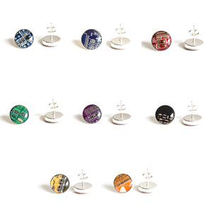 Sterling silver studs with Circuit board piece, 12 mm