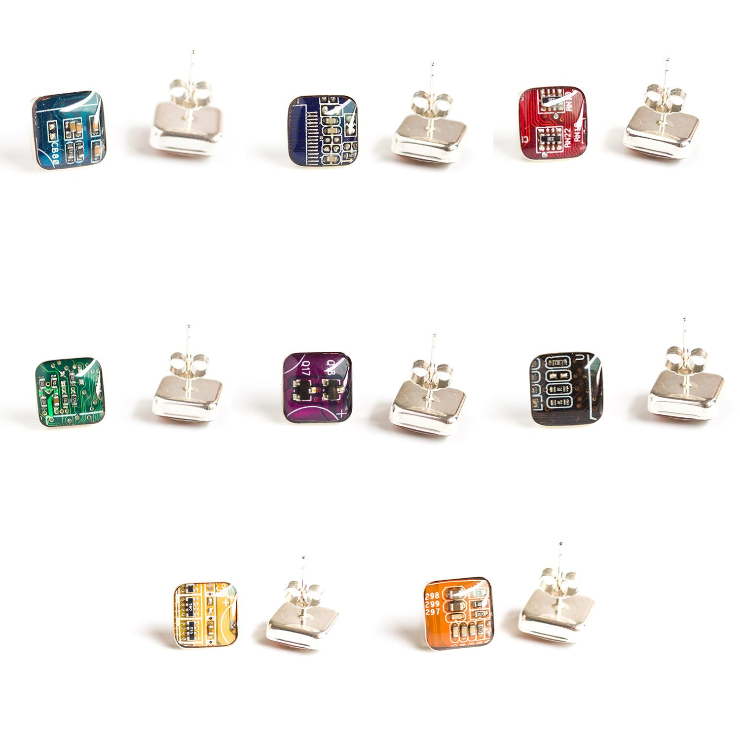 Sterling silver studs with Circuit board piece, 10 mm