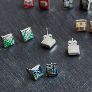 Sterling silver studs with Circuit board piece, 8 mm