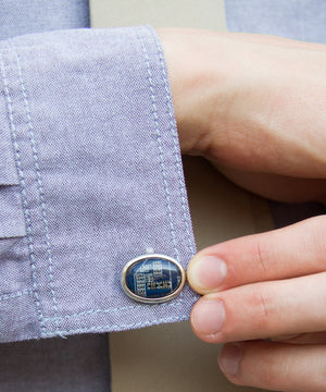 Luxury oval cufflinks made of circuit board