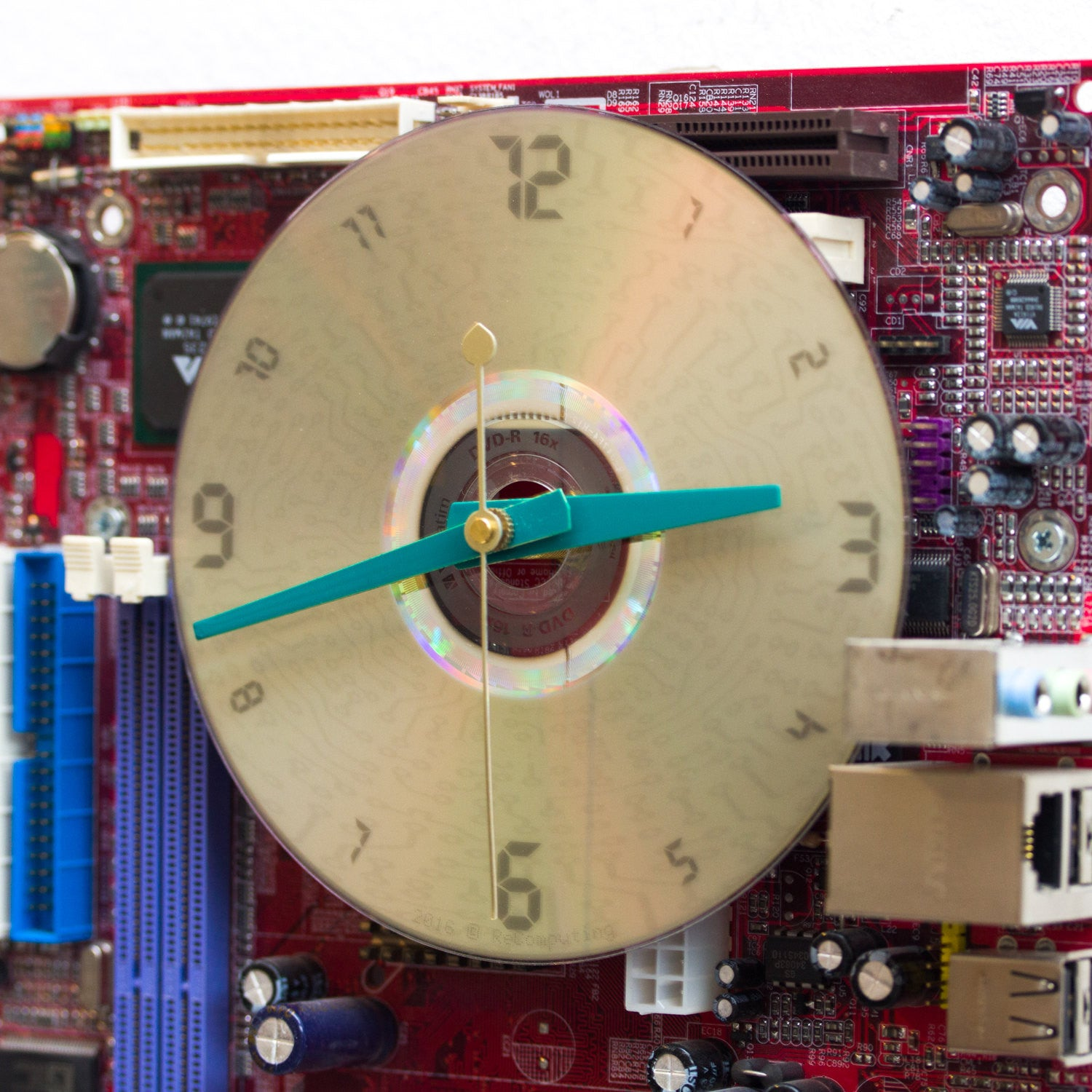 Wall Clock Made Of Red Circuit Board Recomputing Etsy