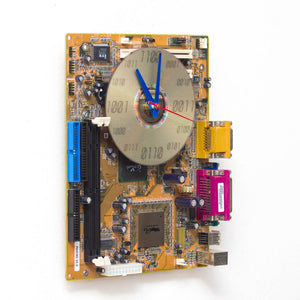 Techie Clock made of yellow / olive green circuit board