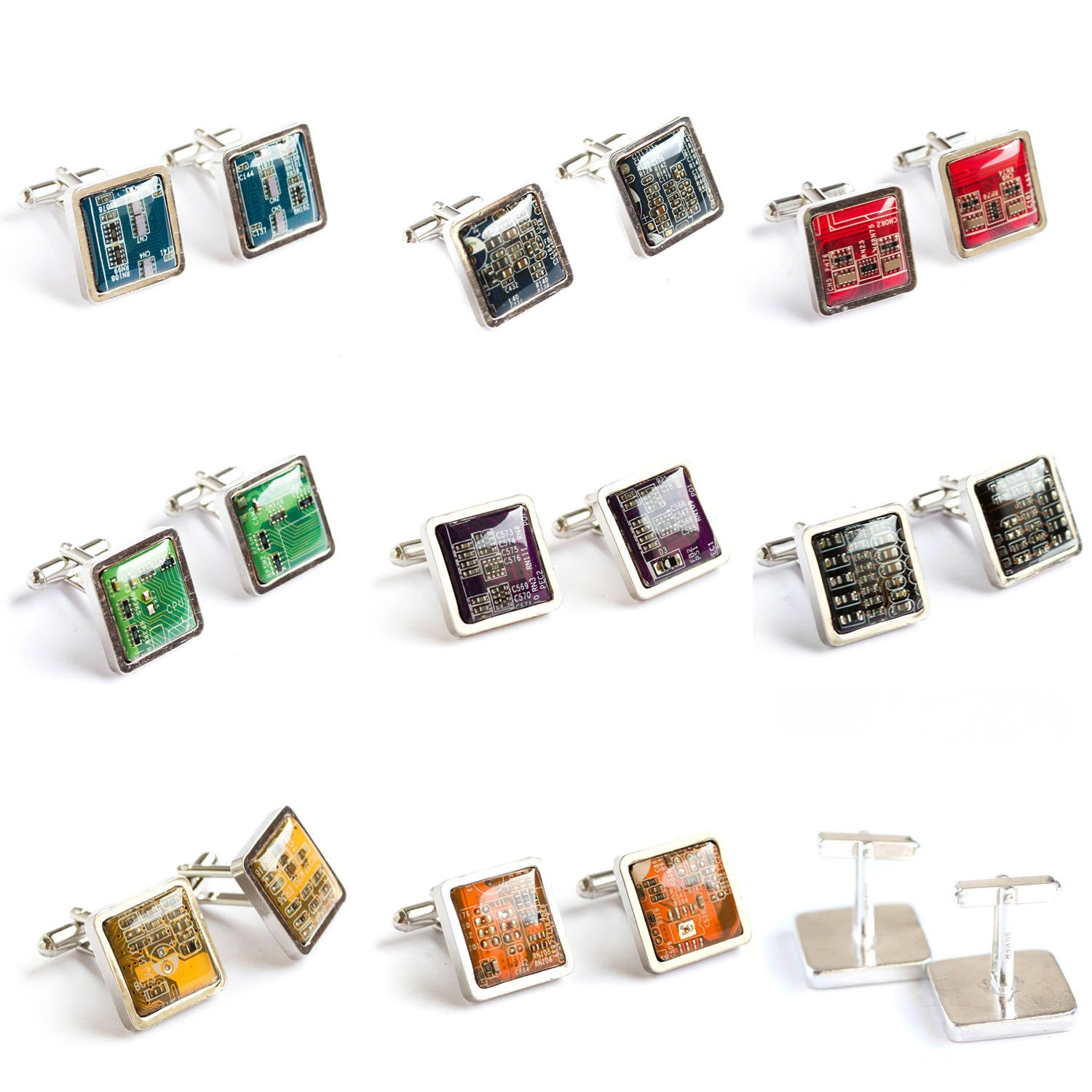 Luxury cufflinks made of circuit board