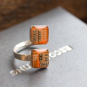 Sterling silver double ring - circuit board statement ring