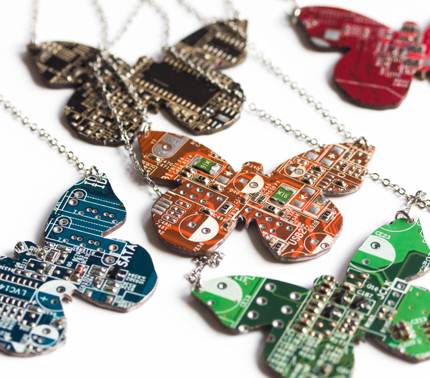 Geeky butterfly necklace made of circuit board