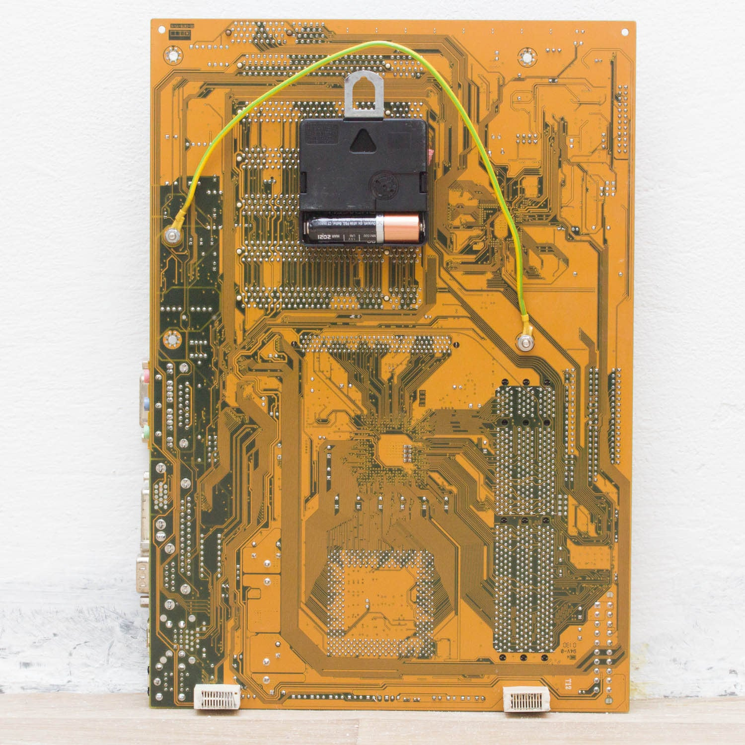 Geeky Wall Clock Made Of Recycled Yellow Olive Green Circuit Board Recycling Technology Cell Phone