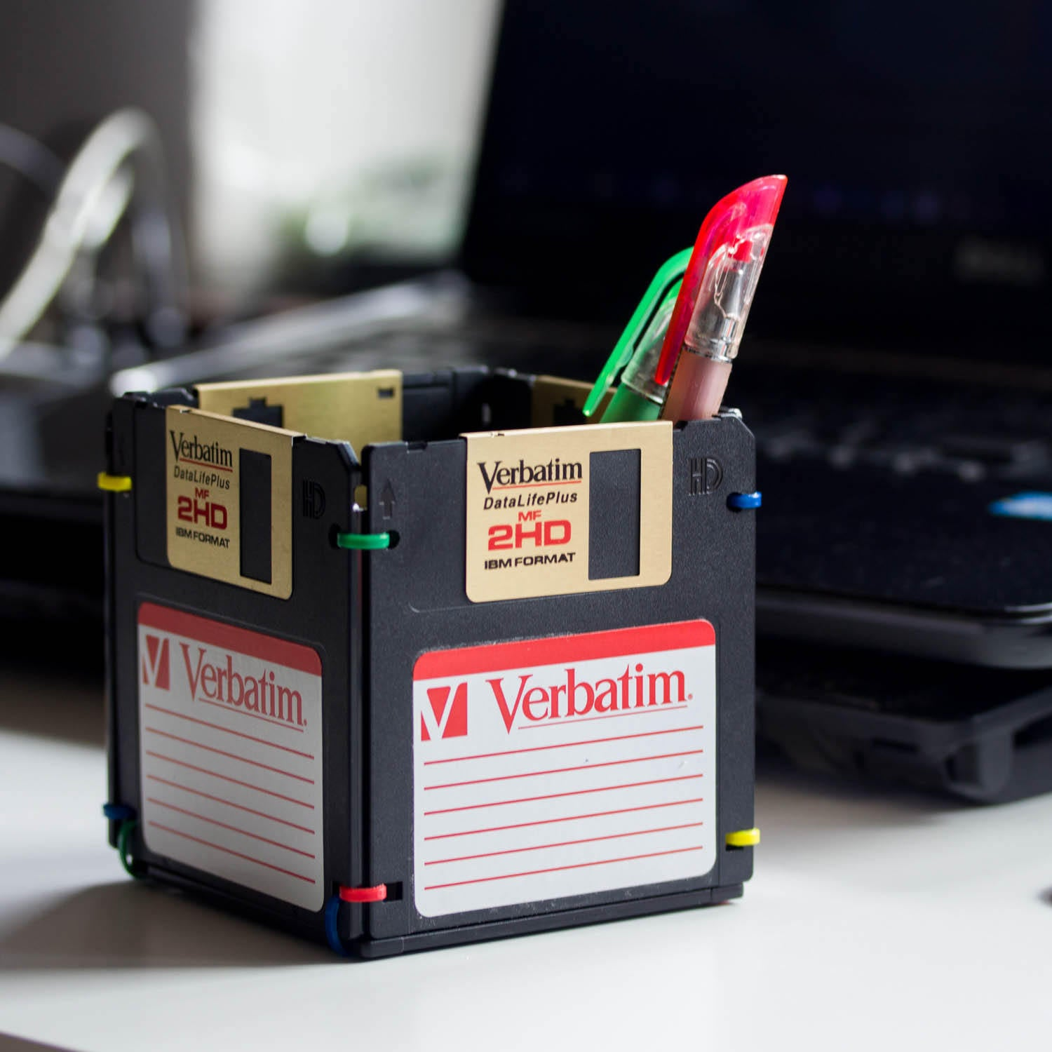 Pen and Pencil Holder made with recycled Verbatim floppy discs - black and golden