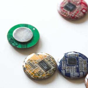 Fridge magnets made of real recycled Circuit boards