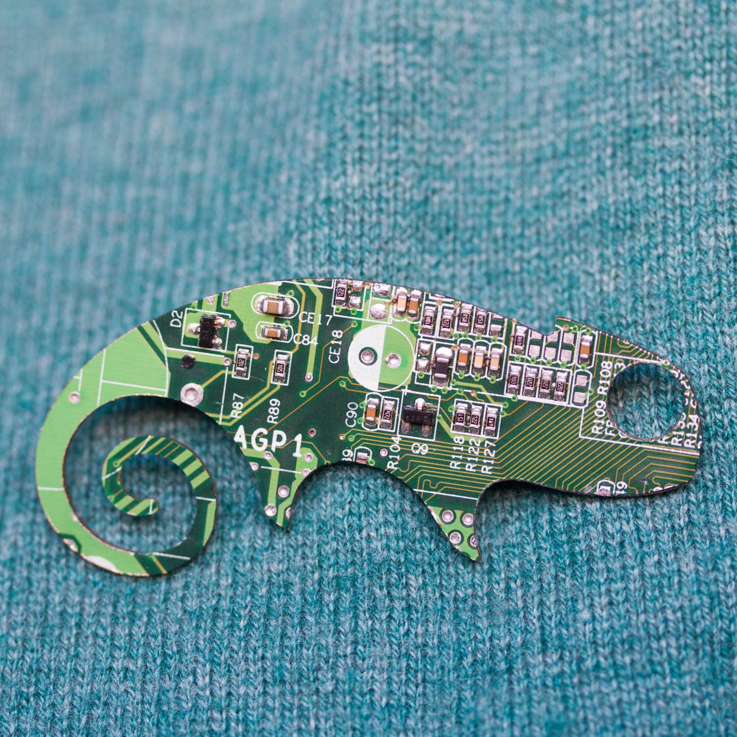 Circuit board Chameleon lizard - brooch, keychain or bag tag