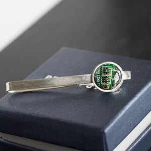 Tie bar with a circuit board piece, sterling silver