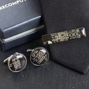 Cufflinks and tie clip set, stainless steel