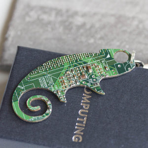Circuit board lizard - brooch, keychain or bag tag