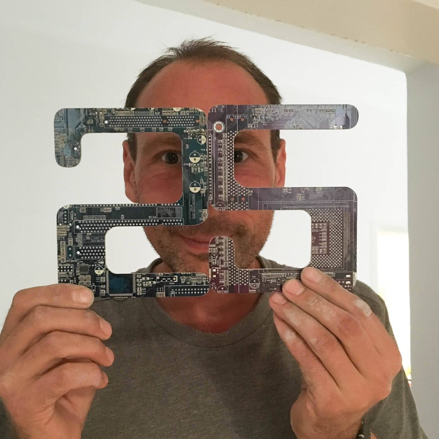 Door numbers made of recycled circuit board, house numbers, address plaque