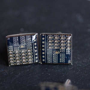 Dark Blue Cufflinks - unique circuit board cufflinks in darkest blue color