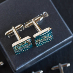 Blue Cufflinks - unique circuit board cufflinks in turquoise blue color