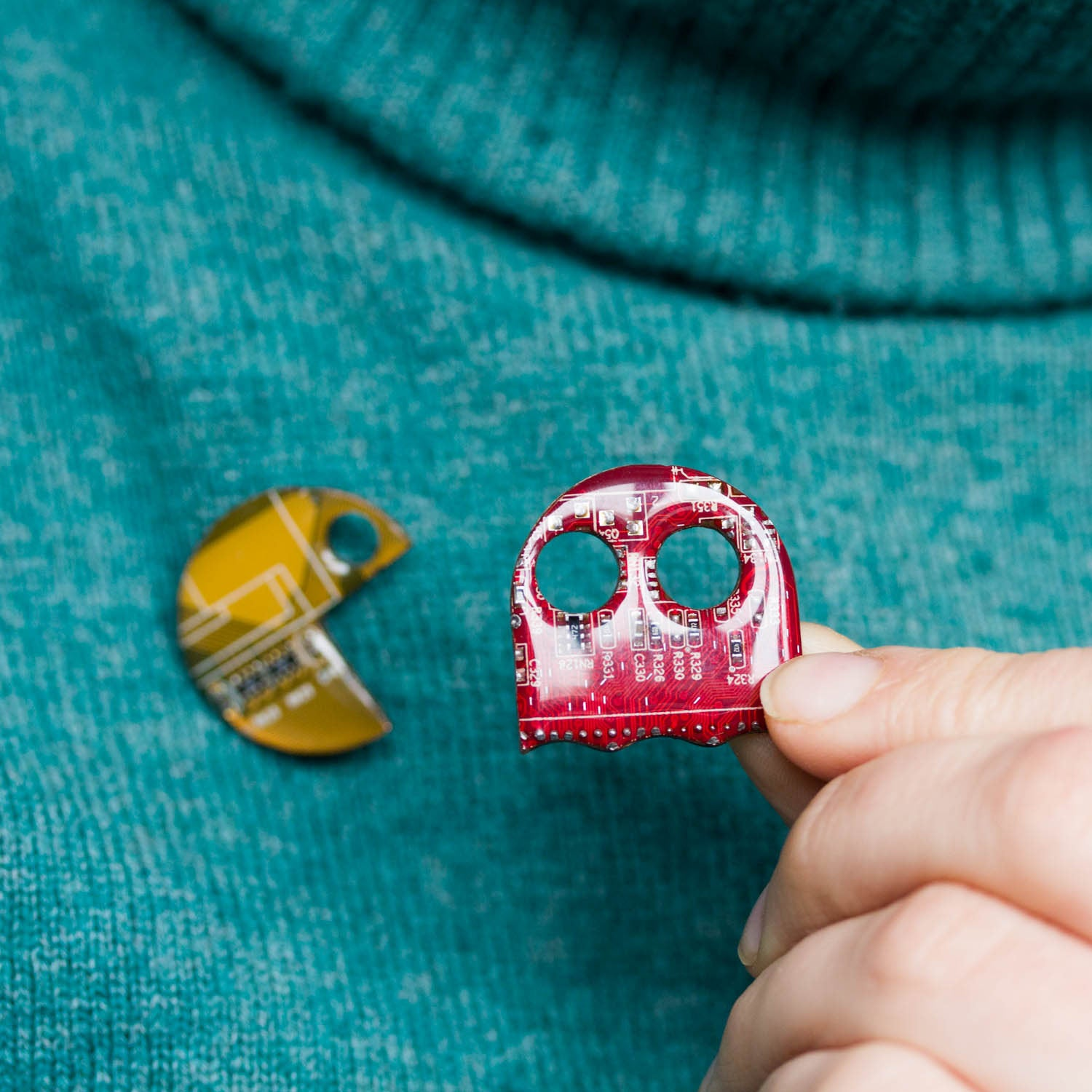 Pacman inspired Pin made with recycled Circuit board