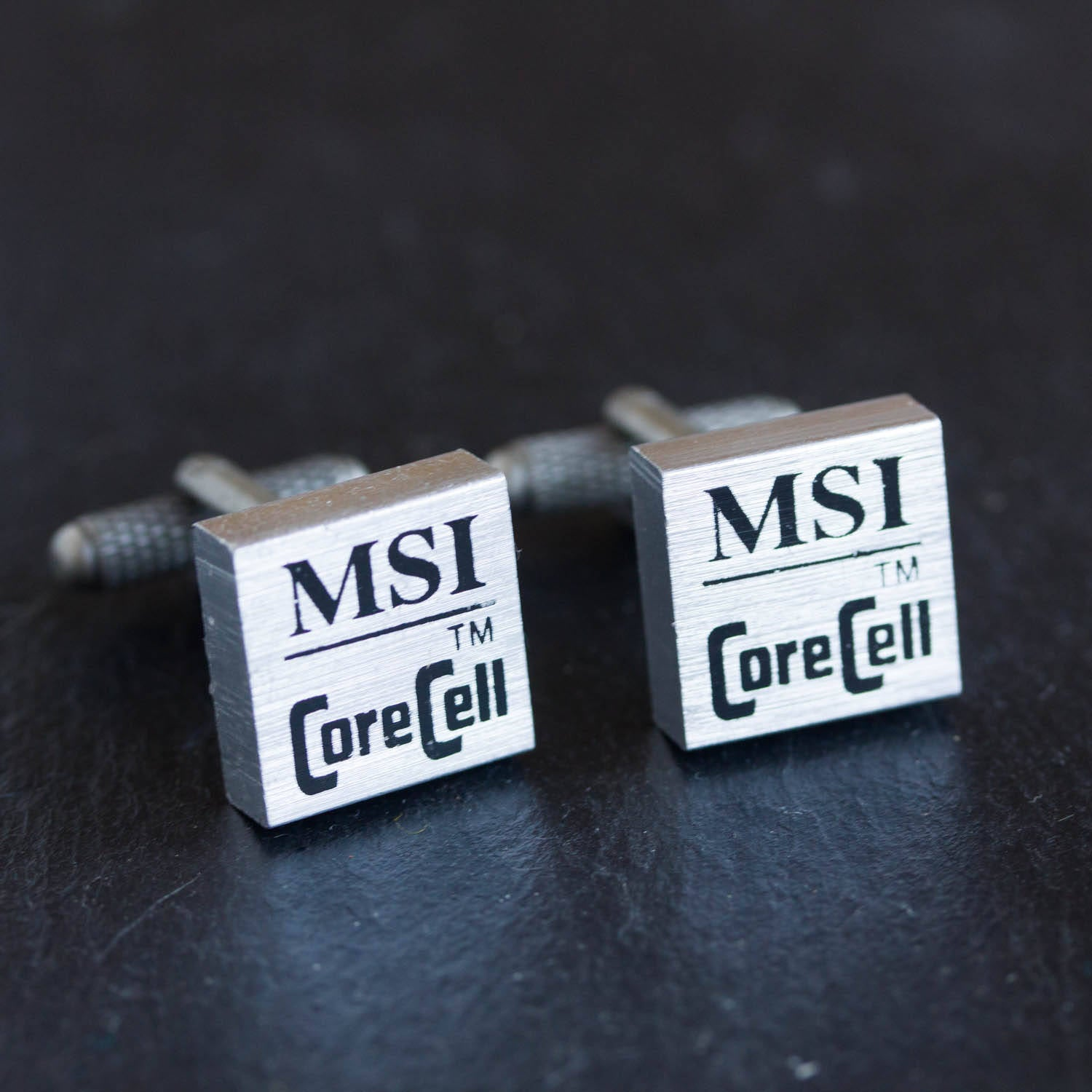Recycled computer cufflinks, MSI radiator cufflinks