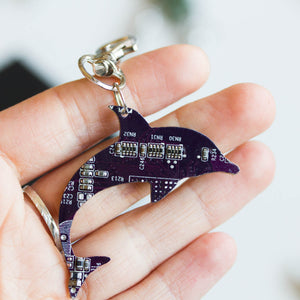 Circuit board dolphin - keychain or bag tag