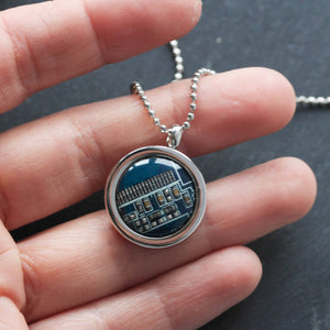 Circuit board necklace, computer geek necklace